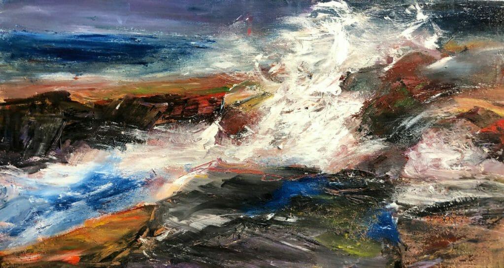 Crashing Waves Landscape Painting